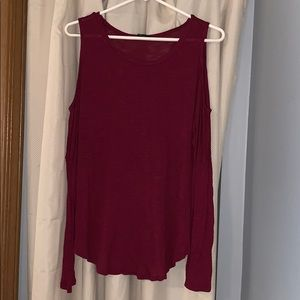 Maroon fashion shoulder cut out top